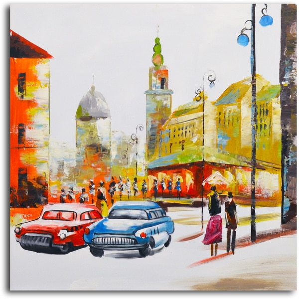 'Sunday Drive Through Town' Original Painting on Canvas