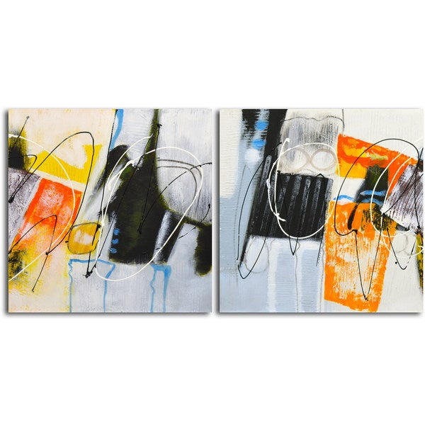 'Coloring Outside the Lines (I and II)' Original Painting on Canvas - Set of 2