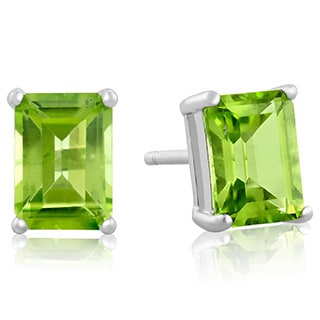 Sterling Silver Emerald-cut Peridot Stud Earrings