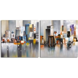 'Reflections on the Water' Original Painting on Canvas - Set of 2