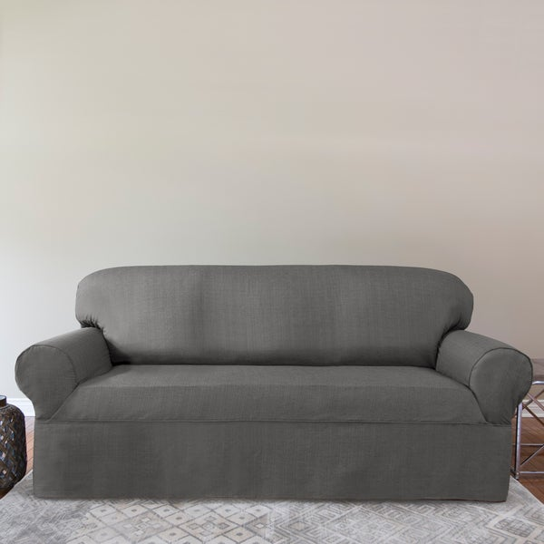 Premium Woven Bayside Modern Home Collection 1-piece Relaxed Fit Sofa Slipcover Collection