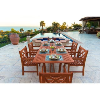 Malibu Eco-friendly 7-piece Eucalyptus Wood Outdoor Dining Set with Extension Table
