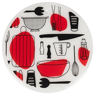 7.5-inch Round Silicone Trivet Set Salad Design (Set of 2)