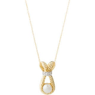 10k Yellow Gold Pearl and Diamond Accent Necklace (4-5 mm)