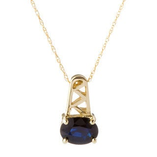 10k Yellow Gold Blue Sapphire Necklace