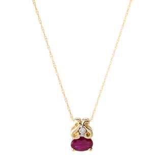10k Yellow Gold Ruby and Diamond Accent Necklace (H-I, I1-I2)
