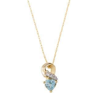 10k Yellow Gold Aquamarine and Diamond Accent Necklace (H-I, I1-I2)