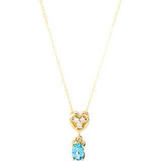 10k Yellow Gold Blue Topaz and Diamond Accent Necklace