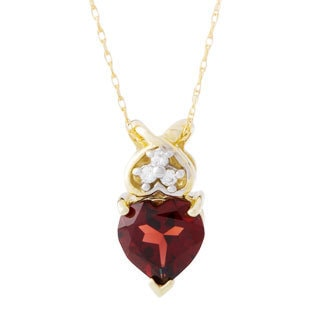 10k Yellow Gold Garnet and Diamond Accent Necklace (H-I, I1-I2)
