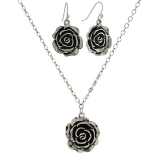 1928 Jewelry Silvertone Rose Necklace and Earrings Set