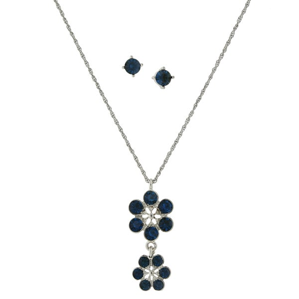 1928 Jewelry Silvertone Dark Blue Glass Stone Flower Drop Pendant and Round Stud Earrings Set