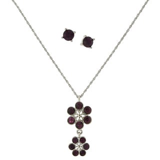 1928 Jewelry Silvertone Dark Purple Glass Stone Flower Drop Pendant and Round Stud Earrings Set