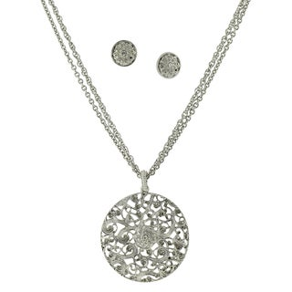 1928 Silvertone Round Filigree Pendant with Crytal Accent Necklace and Earrings Set