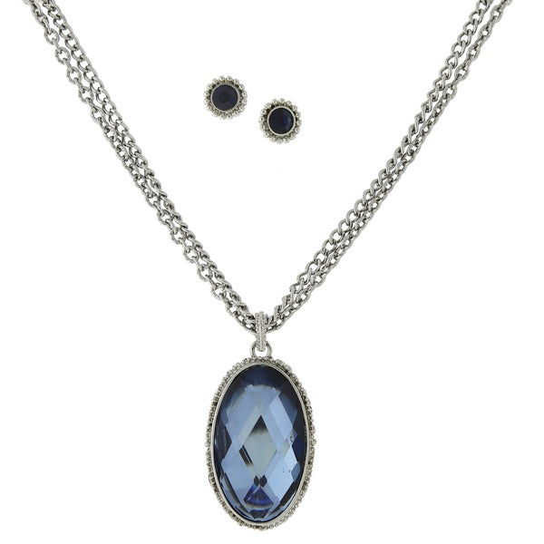 1928 Jewelry Silvertone Double-strand Montana-blue Color Oval Necklace and Round Stud Earrings Set