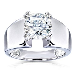 Annello 14k Gold 2ct Solitaire Forever Brilliant Moissanite Wide Flared Engagement Ring