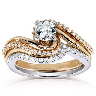 Annello 14k Two-tone Gold 3/4ct TDW Diamond Twisted Bridal Ring Set (H-I, I1-I2)