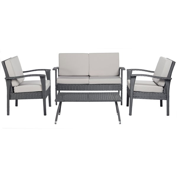 Luxe Grey 4 Pc Wicker Indoor Outdoor Set Patio Furniture