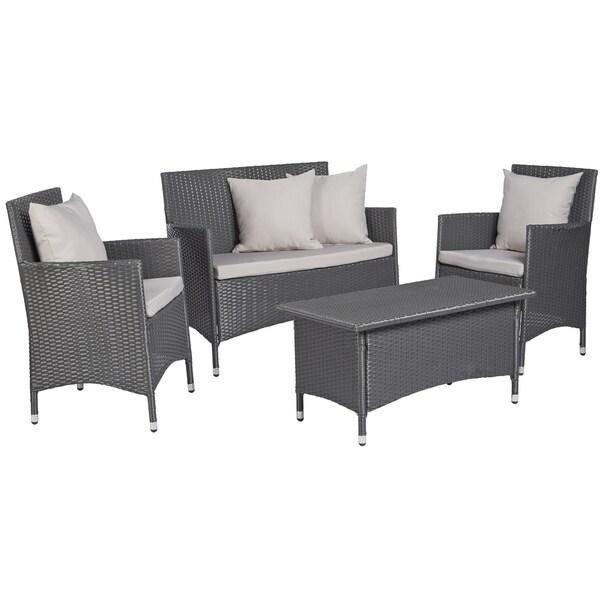 Grey 4 PC Wicker Indoor Outdoor Set Patio Furniture Garden