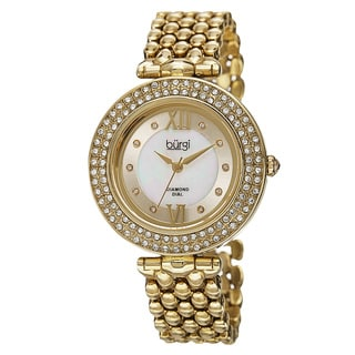 Burgi Women's Swiss Quartz Diamond Markers Alloy Gold-Tone Bracelet Watch