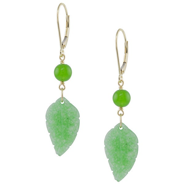 14k Gold Green Jade Leaf Dangle Earrings