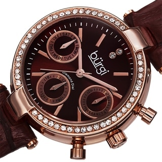 Burgi Women's Diamond Swiss Quartz Multifunction Dual-Time Leather Strap Watch