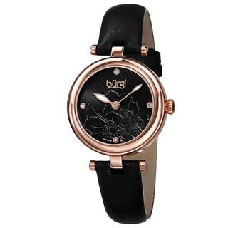 Burgi Women's Quartz Diamond Markers Etched Flower Dial Leather Strap Watch