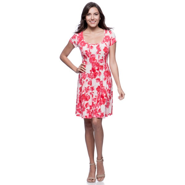Connected Apparel Pink Seamed Floral Fit-and-Flare Dress