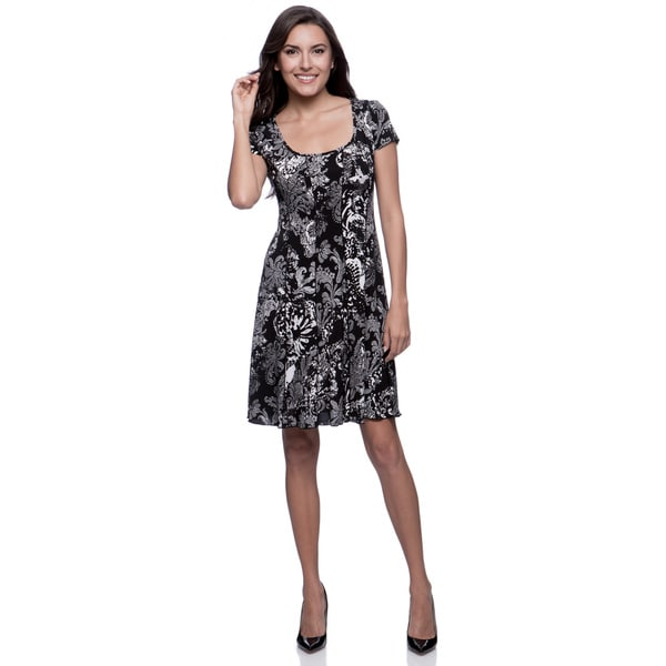 Connected Apparel Black Seemed Fit-and-Flare Paisley Print Dress