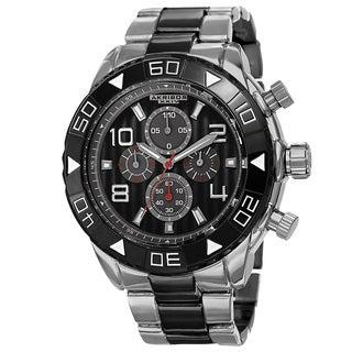 Akribos XXIV Men's Japanese Quartz Chronograph Etched-Pattern Dial Strap Watch