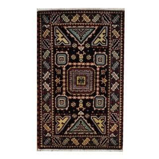 Herat Oriental Indo Hand-knotted Tribal Kazak Black/ Red Wool Rug (3'3 x 5')