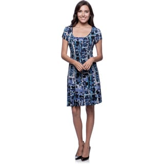 Connected Apparel Blue Seamed Abstract Print Fit-and-Flare Dress