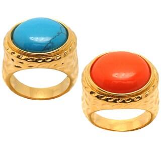 De Buman 18k Yellow Goldplated Round Created Gemstone Ring