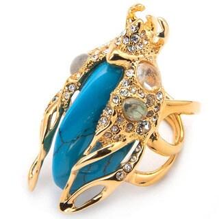 De Buman 18K Yellow Goldplated Create Turquoise, Glass & White Czech Ring