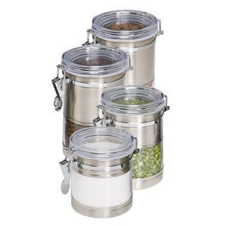 """Honey-Can-Do KCH-01310 Stainless Steel and Acrylic Canister Containers, 4-Pack"