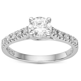 Charles & Colvard Created Moissanite Sterling Silver 1.05ct. TGW Round-cut Moissanite Bridal Ring