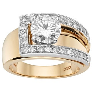 Charles and Colvard 14K Two-tone Gold 2.075ct TGW Moissanite Fashion Belt Ring (Size 7)