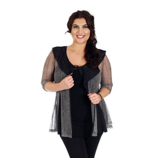 Woman's Plus Size 3/4 Sleeve Black and Grey Tie-front See- through Cardigan