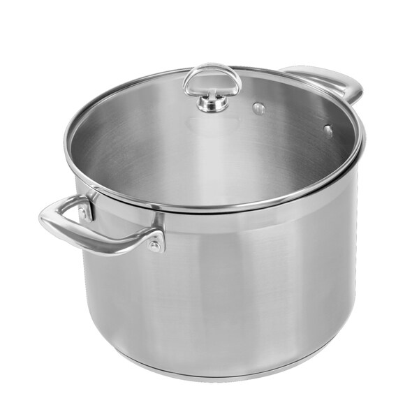 Chantal 8-quart Steel Induction Stock Pot with Glass Lid