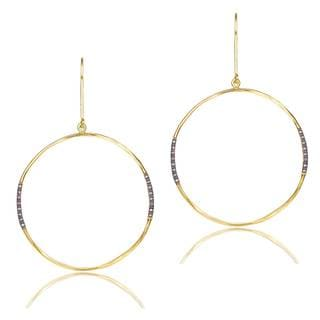 Collette Z Gold and Black-plated Cubic Zirconia Sterling Silver Large Hoop Earrings