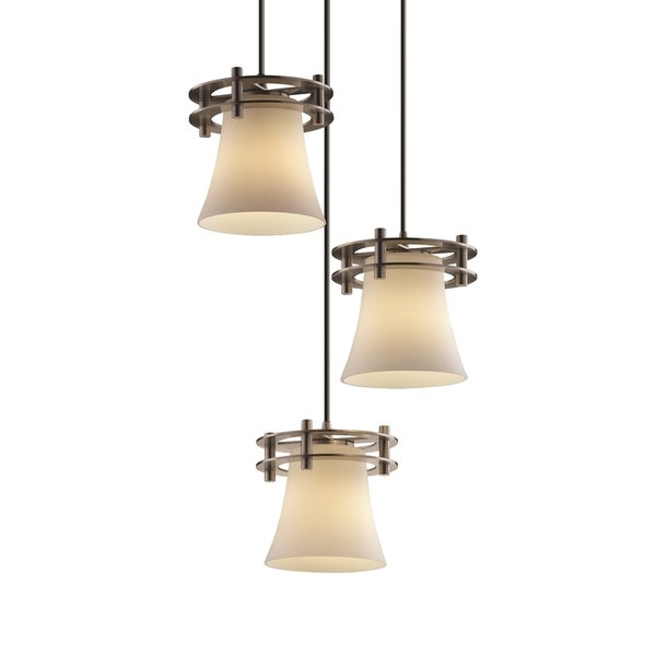 Justice Design Group Fushion Circa 3-Light Cluster Pendant, Nickel