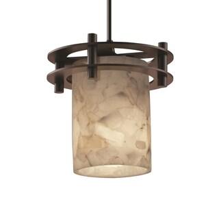 Justice Design Group Alabaster Circa 1-Light Small Pendant, Bronze