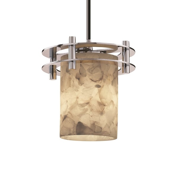 Justice Design Group Alabaster Circa 1-Light Small Pendant, Chrome