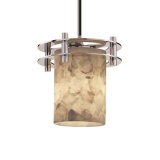 Justice Design Group Alabaster Circa 1-Light Small Pendant, Chrome