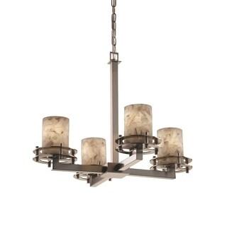 Justice Design Group Alabaster Circa 4-Light Chandelier, Nickel