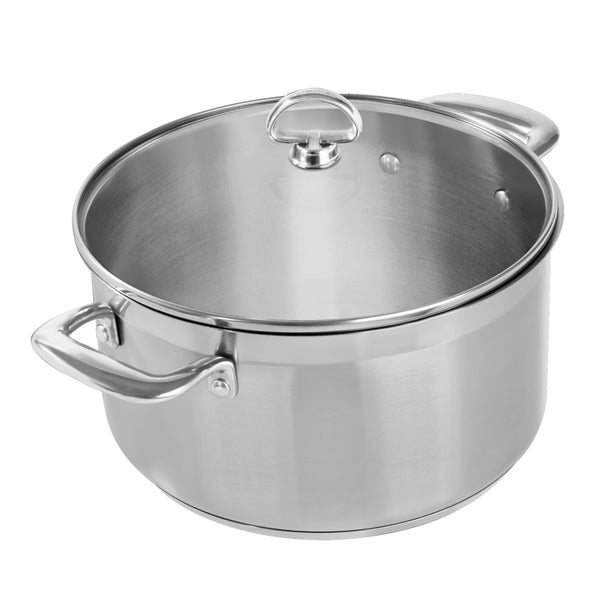 Chantal 6-quart Steel Induction Casserole Pot with Glass Lid