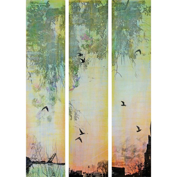 Marmont Hill 'Green Tiempo Triptych' Canvas Art