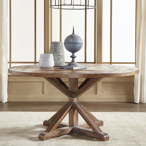 signal hills benchwright rustic x base 60 inch round pine wood dining table 17207387. Black Bedroom Furniture Sets. Home Design Ideas