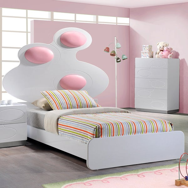 Lola High Gloss White Bed with Cushion Headboard Detail