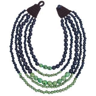Faire Collection Cascade Acai Seed Necklace in Navy/Sea Green (Ecuador)