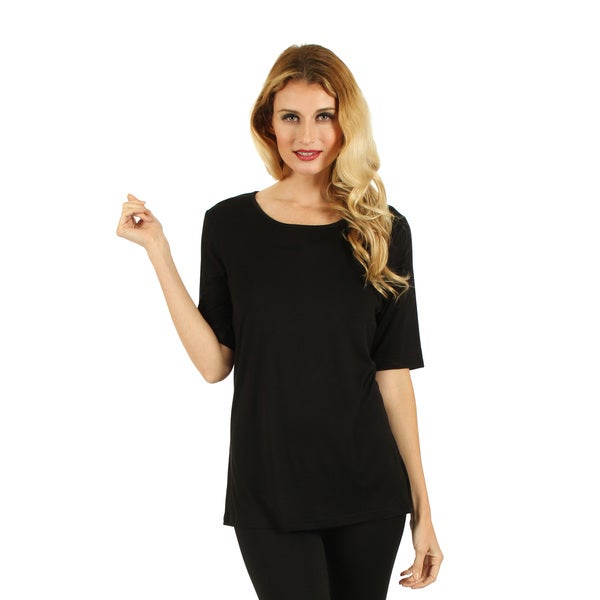 Firmiana Womans Elbow Length Sleeve Black Top